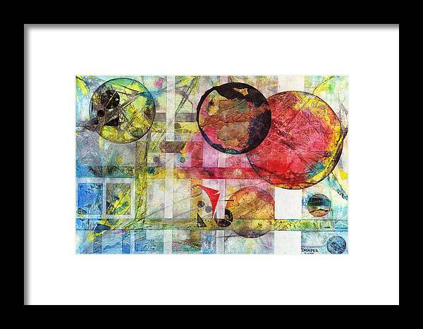 Quantum Framed Print featuring the painting Transition Point Unum by James Draper Draper