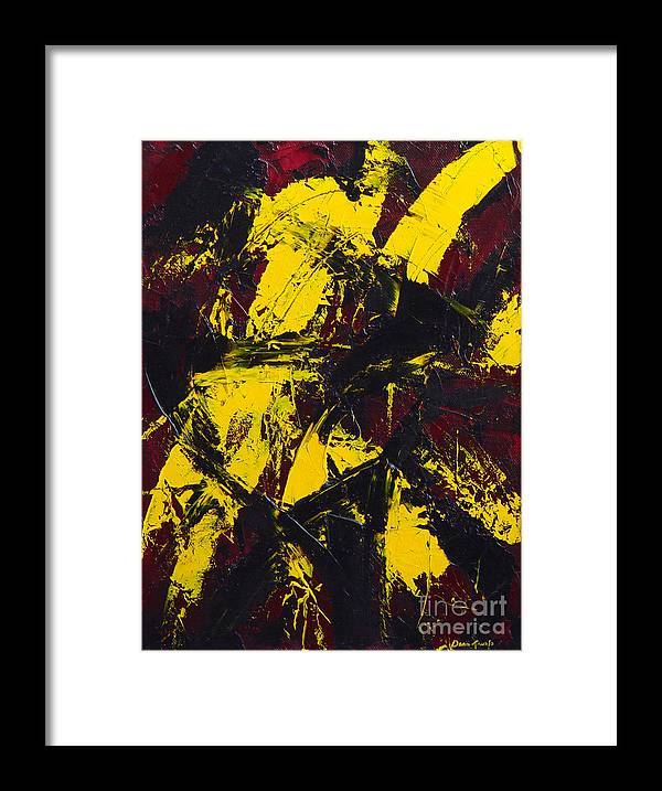 Abstract Framed Print featuring the painting Transitions With Yelllow And Black by Dean Triolo