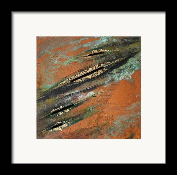 Copper Framed Print featuring the painting Transitory Marks Iv by Dodd Holsapple