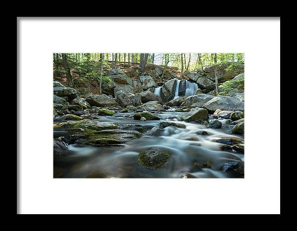 Trap Falls Ashby Ma Mass Massachusetts Island River Stream Brook Outside Outdoors Newengland New England U.s.a. Usa Nature Natural Trees Rocks Forest Secluded Brian Hale Brianhalephoto Longexposure Long Exposure Spring Framed Print featuring the photograph Trap Falls In Spring 3 by Brian Hale