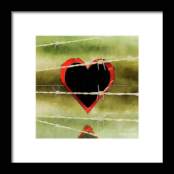 Heart Framed Print featuring the painting Trapped Heart by Pierre Blanchard
