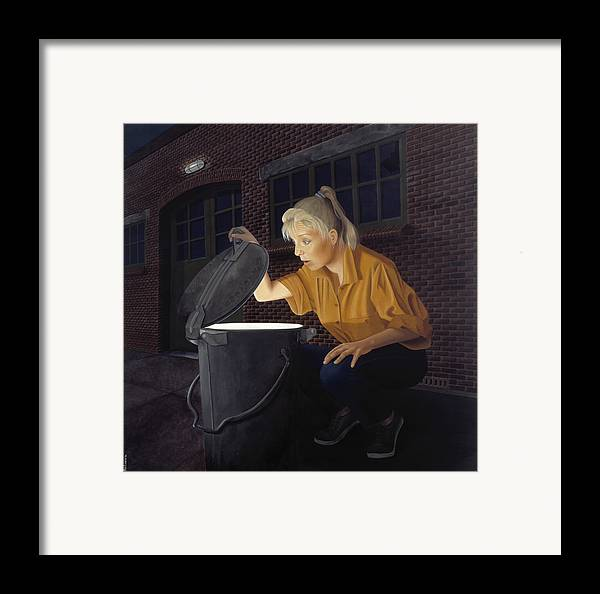 Architecture Framed Print featuring the painting Trash Bin by Patricia Van Lubeck