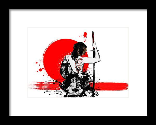 Samurai Framed Print featuring the digital art Trash Polka - Female Samurai by Nicklas Gustafsson