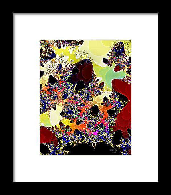 Fractal Framed Print featuring the digital art Travel By Hyperchromatic Spore by Scott Bricker