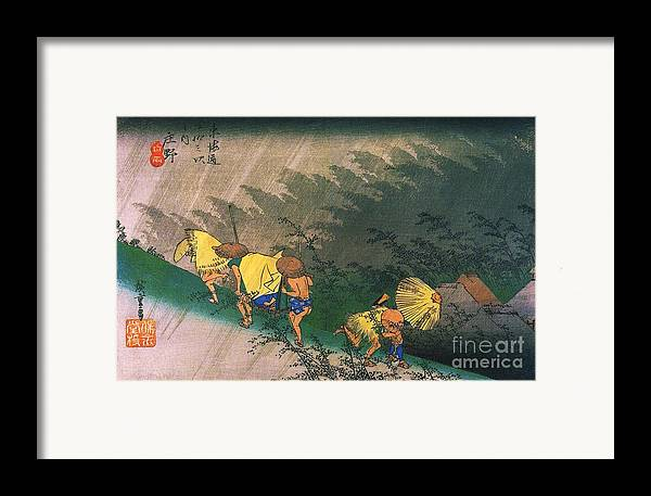 Pd Framed Print featuring the painting Travellers Surprised By Rain by Pg Reproductions