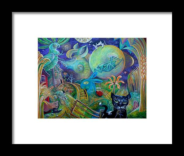 Snail Grasshopper Cow Rabbit Pig Landscape Moon Purple Rodulfo Corn Wheat Foot Framed Print featuring the painting Travels With A Snail by Peter Rodulfo
