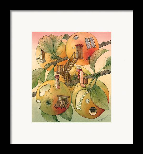 Worm Autumn Apple Garden Home Tree Evening Framed Print featuring the painting Trawelling Worm by Kestutis Kasparavicius