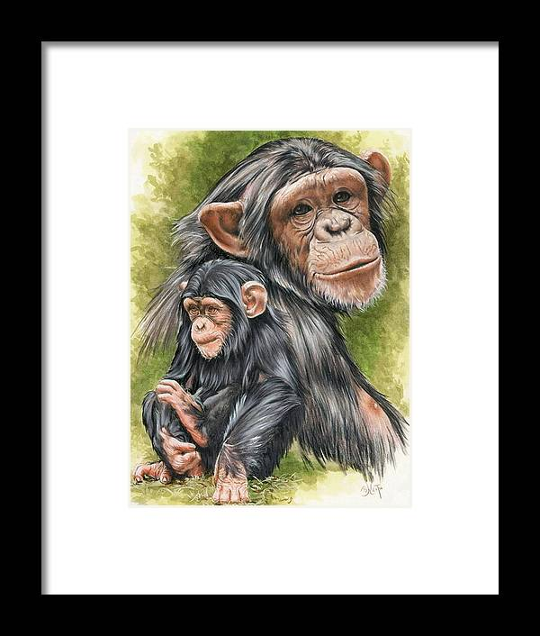 Chimpanzee Framed Print featuring the mixed media Treasure by Barbara Keith