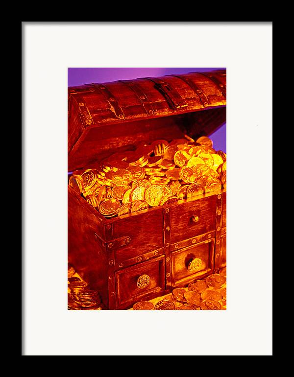 Treasure Chest Gold Coins Pirates Framed Print featuring the photograph Treasure Chest With Gold Coins by Garry Gay