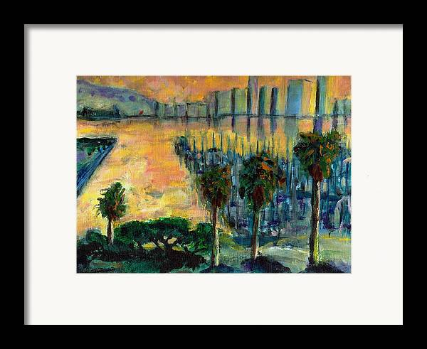 Ocean Framed Print featuring the painting Treasure Island Sunset by Randy Sprout