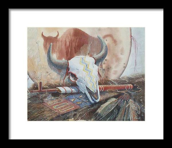 Buffalo Skull Framed Print featuring the painting Treaties Remembered by Don Trout
