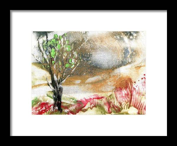 Encaustic Painting Framed Print featuring the painting Tree by Alla Bechtold