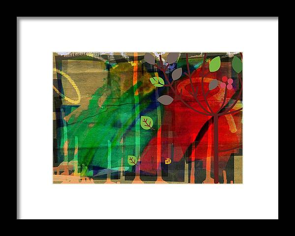 Abstract Color Framed Print featuring the digital art Tree and a skewed rainbow by Joseph Ferguson