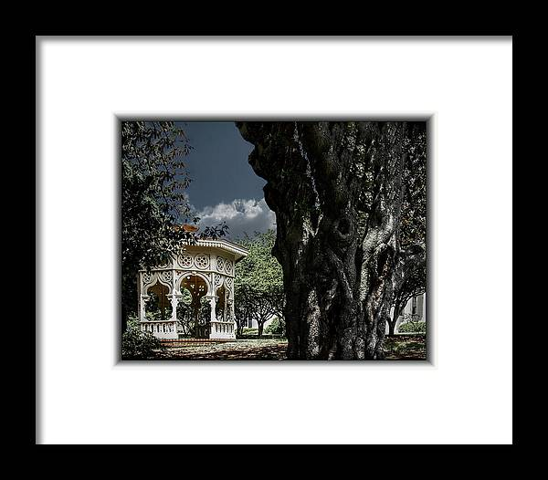 Clouds Framed Print featuring the photograph Tree And Gazebo by Thomas Fields
