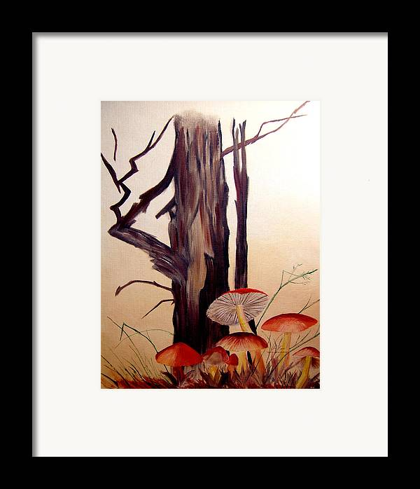 Tree Framed Print featuring the print Tree And Mushrooms by JoLyn Holladay