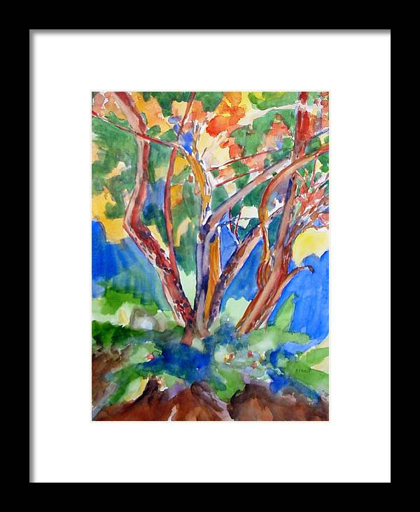 Landscape Framed Print featuring the painting Tree Burst by Patricia Bigelow