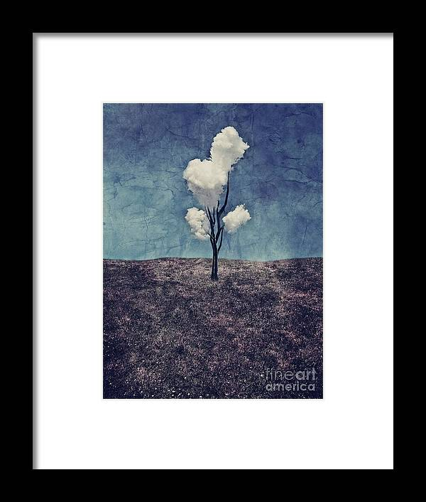 Tree Framed Print featuring the digital art Tree Clouds 01d2 by Aimelle
