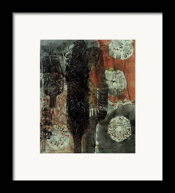 Monotype Framed Print featuring the print Tree Fossils by Angela Dickerson