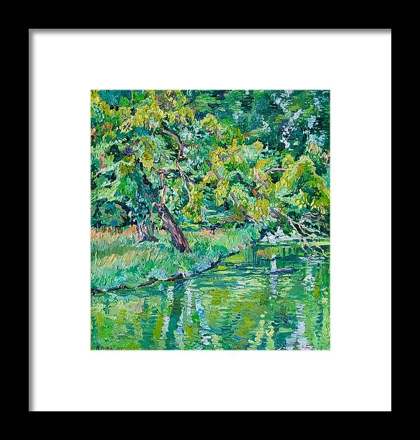 Landscape Framed Print featuring the painting Tree Near A Pond In Lednice Castle Park by Vitali Komarov