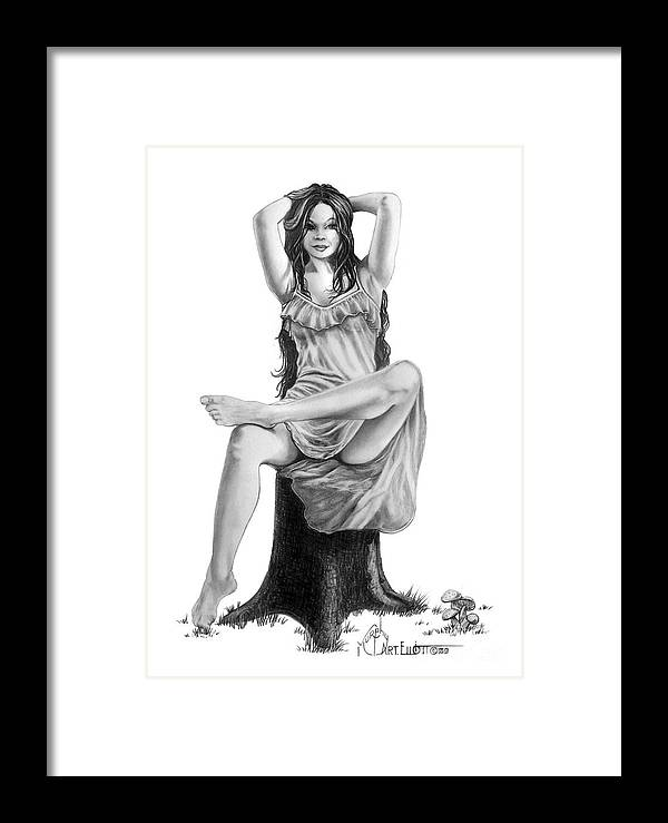 Figure Drawing Framed Print featuring the drawing Tree Nymph by Murphy Elliott