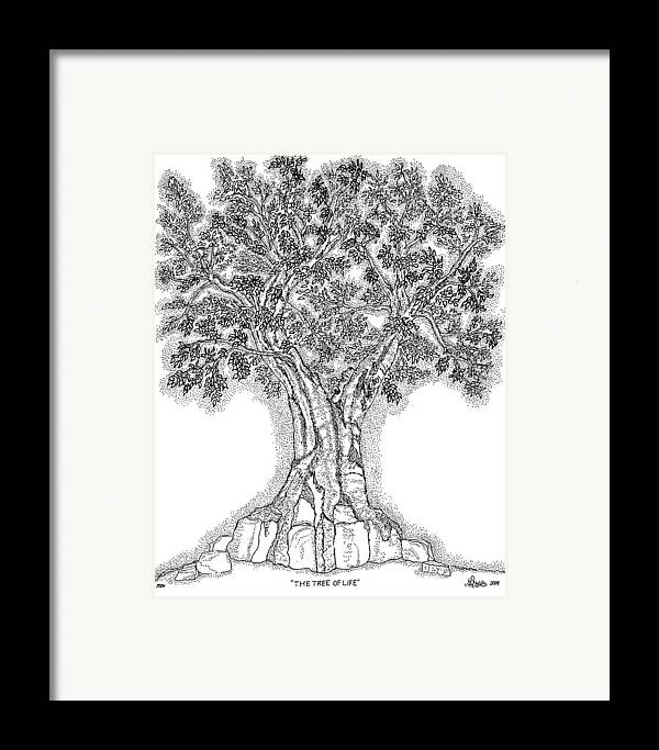 Christian Framed Print featuring the drawing Tree Of Life 1 by Glenn McCarthy Art and Photography