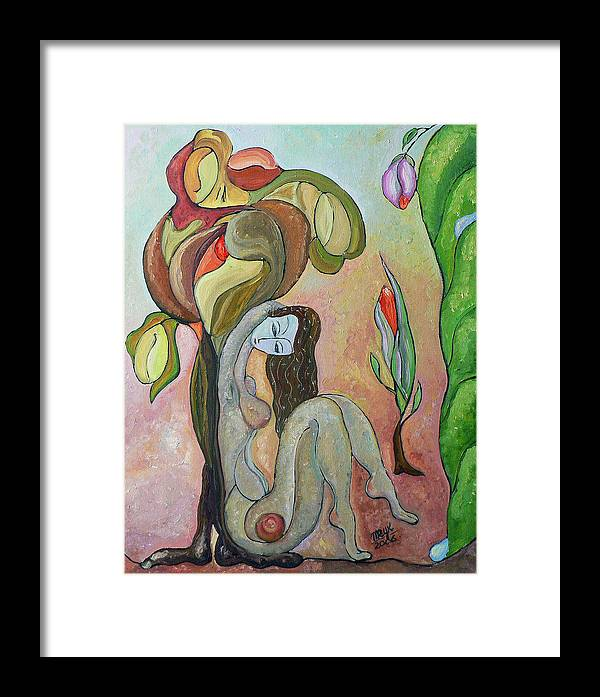 Figurative Art Paintings Framed Print featuring the painting Tree Of Life by Mila Ryk