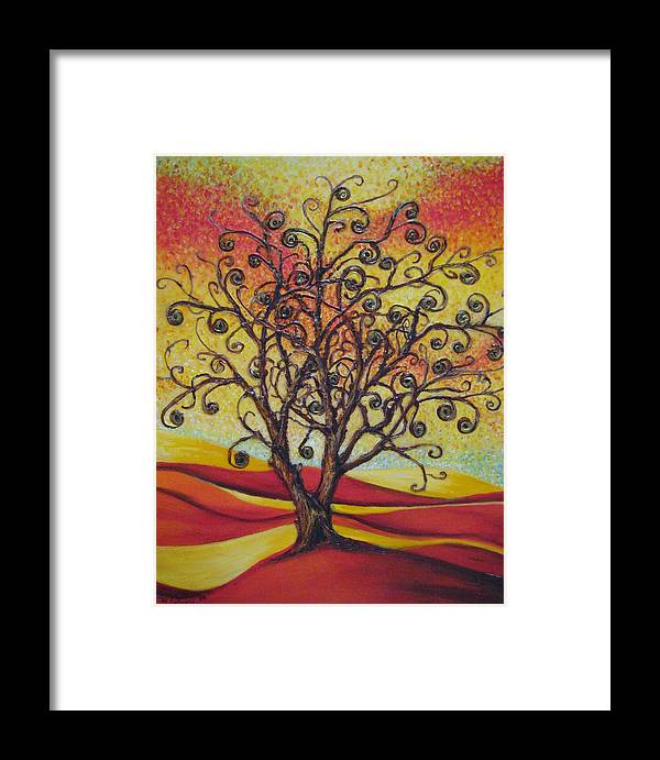 Tree Framed Print featuring the painting Tree Of Life by Mirjana Gotovac
