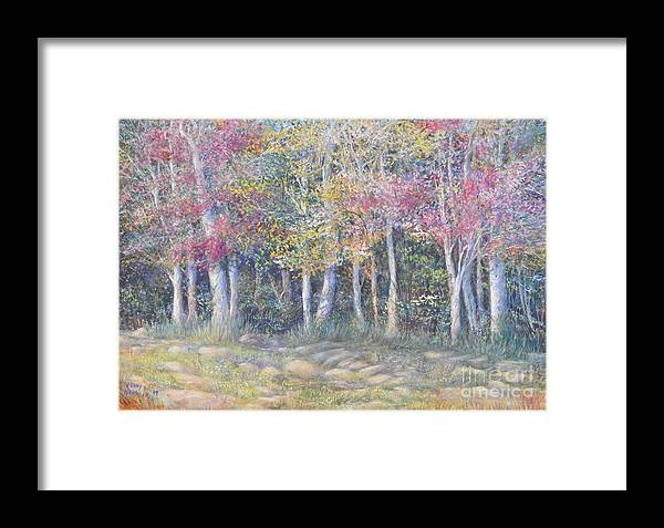 Beautiful Fall Painting Framed Print featuring the painting Tree Pageant by Penny Neimiller