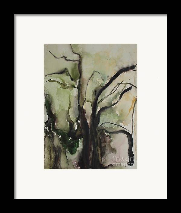 Tree Winter Abstract Original Painting Landscape Leila Atkinson Watercolor Wet On Wet Washes Trees Framed Print featuring the painting Tree Series V by Leila Atkinson