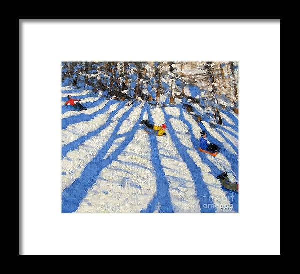 Sledging Framed Print featuring the painting Tree Shadows Morzine by Andrew Macara