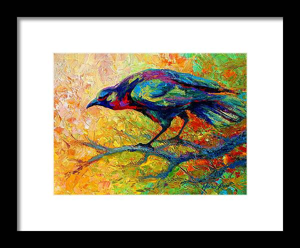 Crows Framed Print featuring the painting Tree Talk - Crow by Marion Rose