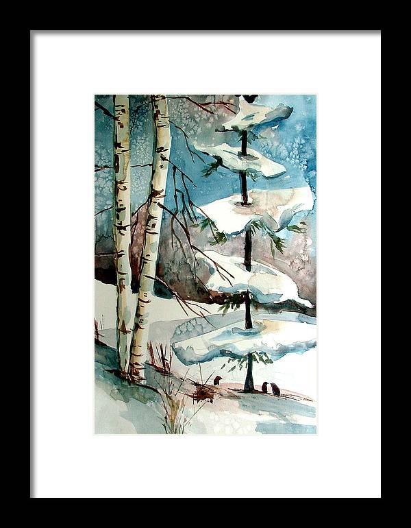 Winter Framed Print featuring the painting Tree Talkers by Mindy Newman