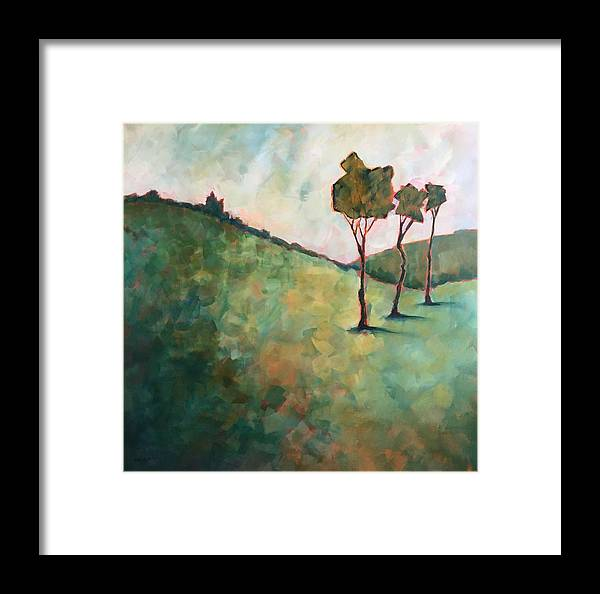 Abstract Framed Print featuring the painting Tree Trio by Karen Kuykendall