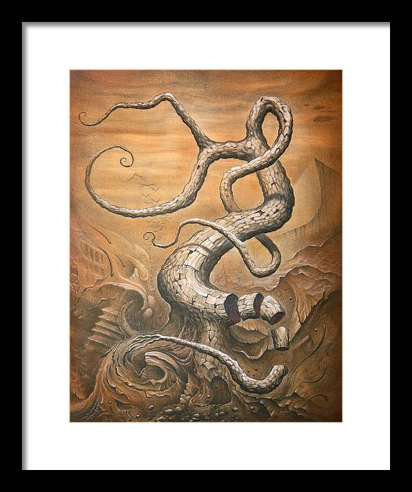 Abstract Framed Print featuring the drawing Treehensile by Victor Whitmill