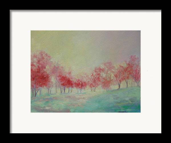 Impressionist Trees Framed Print featuring the painting Treeline by Ginger Concepcion