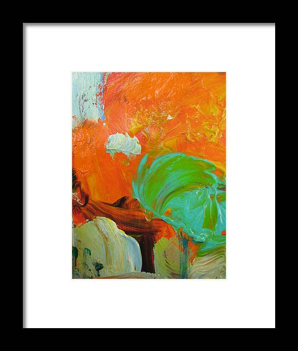 Abstract Framed Print featuring the painting Trees Aceo Abstract by Susan Jenkins
