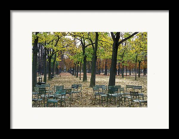 Outdoors Framed Print featuring the photograph Trees And Empty Chairs In Autumn by Stephen Sharnoff