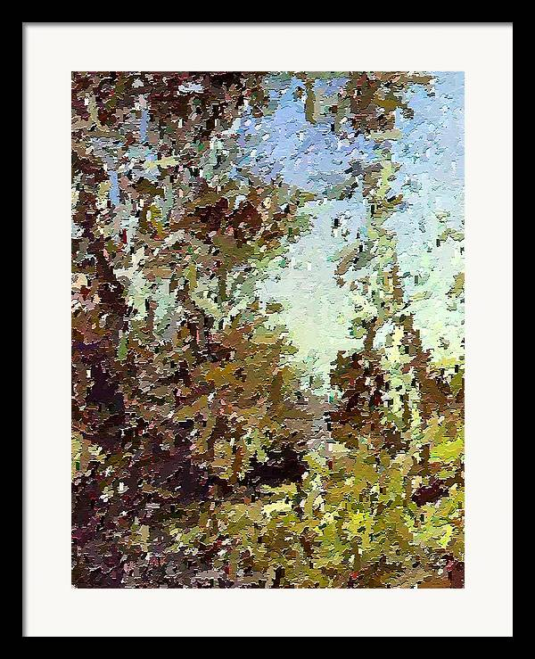 Abstract Framed Print featuring the painting Trees In The Back Yard by Don Phillips