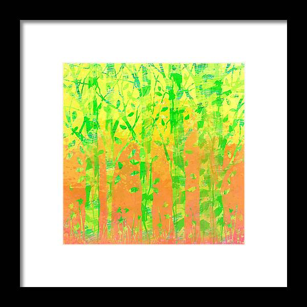 Abstract Framed Print featuring the digital art Trees in the Grass by William Russell Nowicki