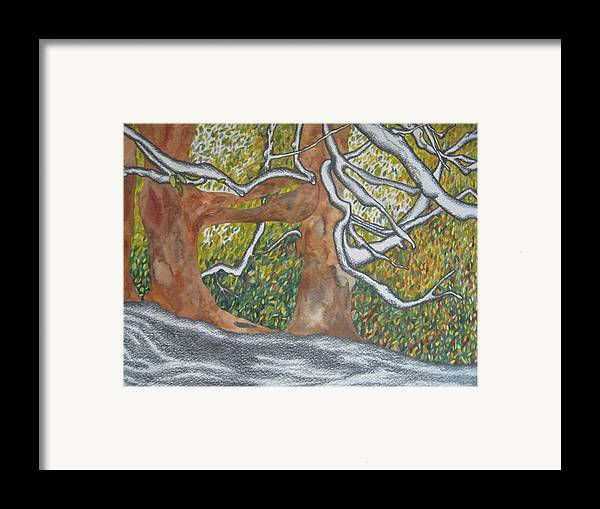 Trees Framed Print featuring the painting Trees by Theodora Dimitrijevic