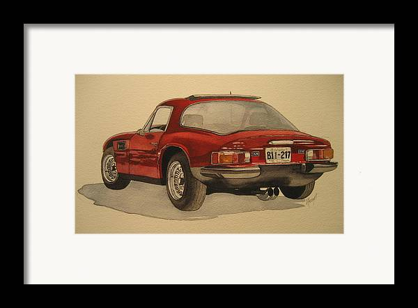 Car Framed Print featuring the painting Trevors Tvr by Victoria Heryet
