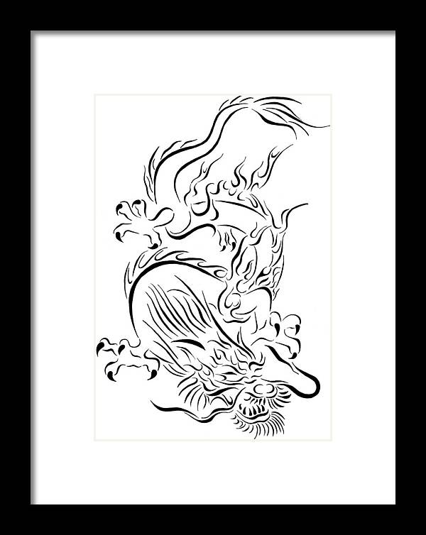 0e350f8ca Tribal Framed Print featuring the drawing Tribal Chinese Dragon by Tina  Barnash