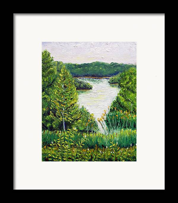 Lake Framed Print featuring the painting Tributary Salt Fork Lake Ohio by Robert Sako