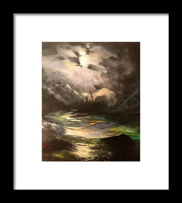 Seascape Framed Print featuring the painting Tribute To Aivazovsky by FA Chekki