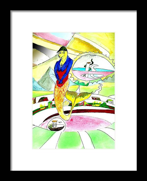 Mermaid Sci-fi Framed Print featuring the painting tribute to Erte by Giles b Liddell