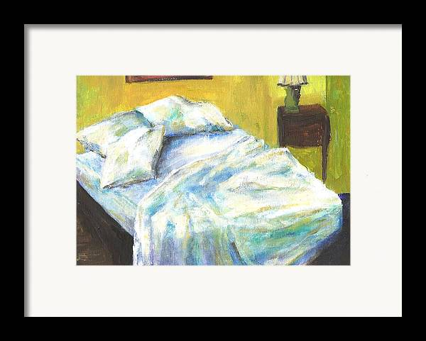 Bed Framed Print featuring the painting Tribute To Marc by Randy Sprout