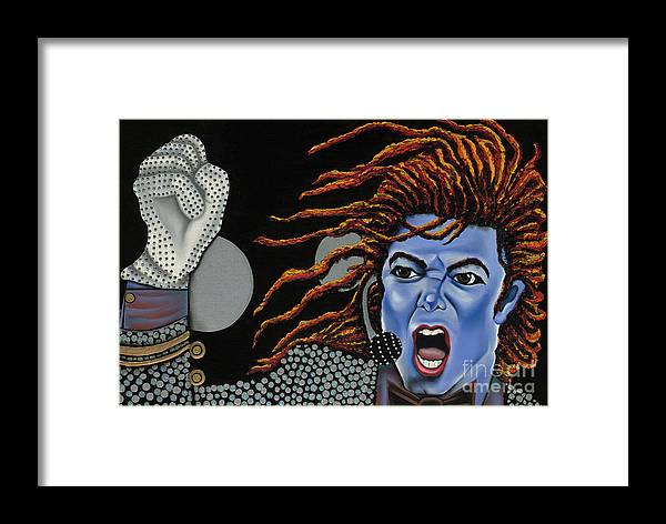 Blue Painting Framed Print featuring the painting Tribute To Michael by Nannette Harris