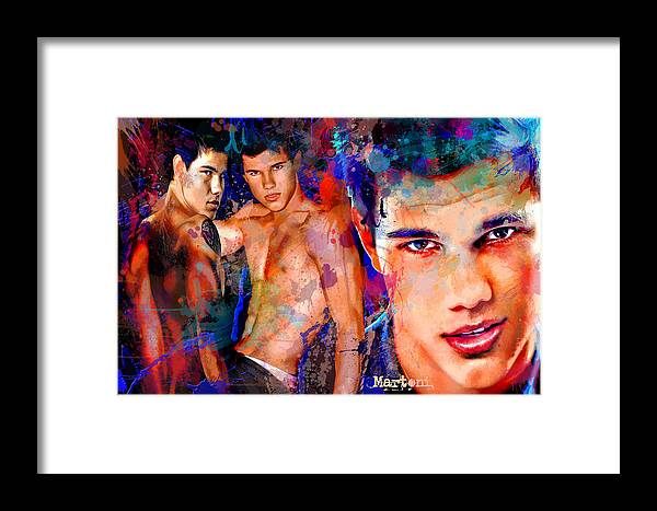 Martoni Framed Print featuring the painting Tribute To Taylor Lautner by Alex Martoni