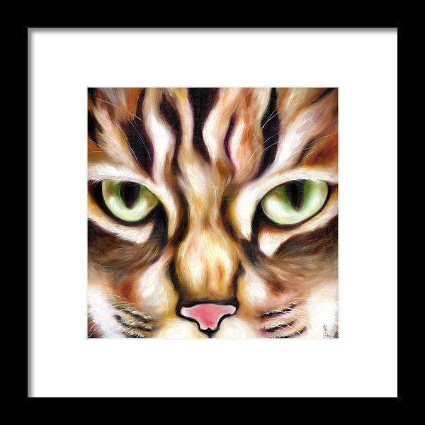Cat Framed Print featuring the painting Trick Or Treat by Hiroko Sakai