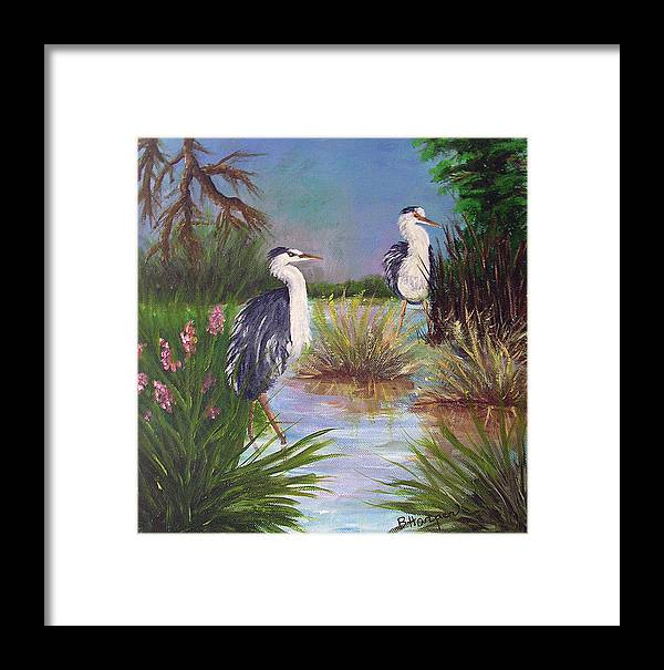Heron Framed Print featuring the painting Tricolored Heron by Barbara Harper